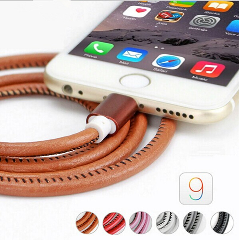 new 1 m Super Strong Leather Metal Plug Micro USB Cable charger usb printer cable for iPhone 6 6s Plus 5s 5 iPadmini(China (Mainland))