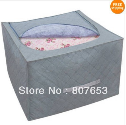 freeshipping 2pcs Bamboo Charcoal Organizer Bed Clothes Bedquilt Storage Bags Case Blanket Box  house helper