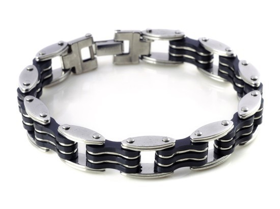 New-Men-s-High-Quality-Stainless-Steel-Bracelet-Silver-Link-Black-Rubber-Bangle (2)