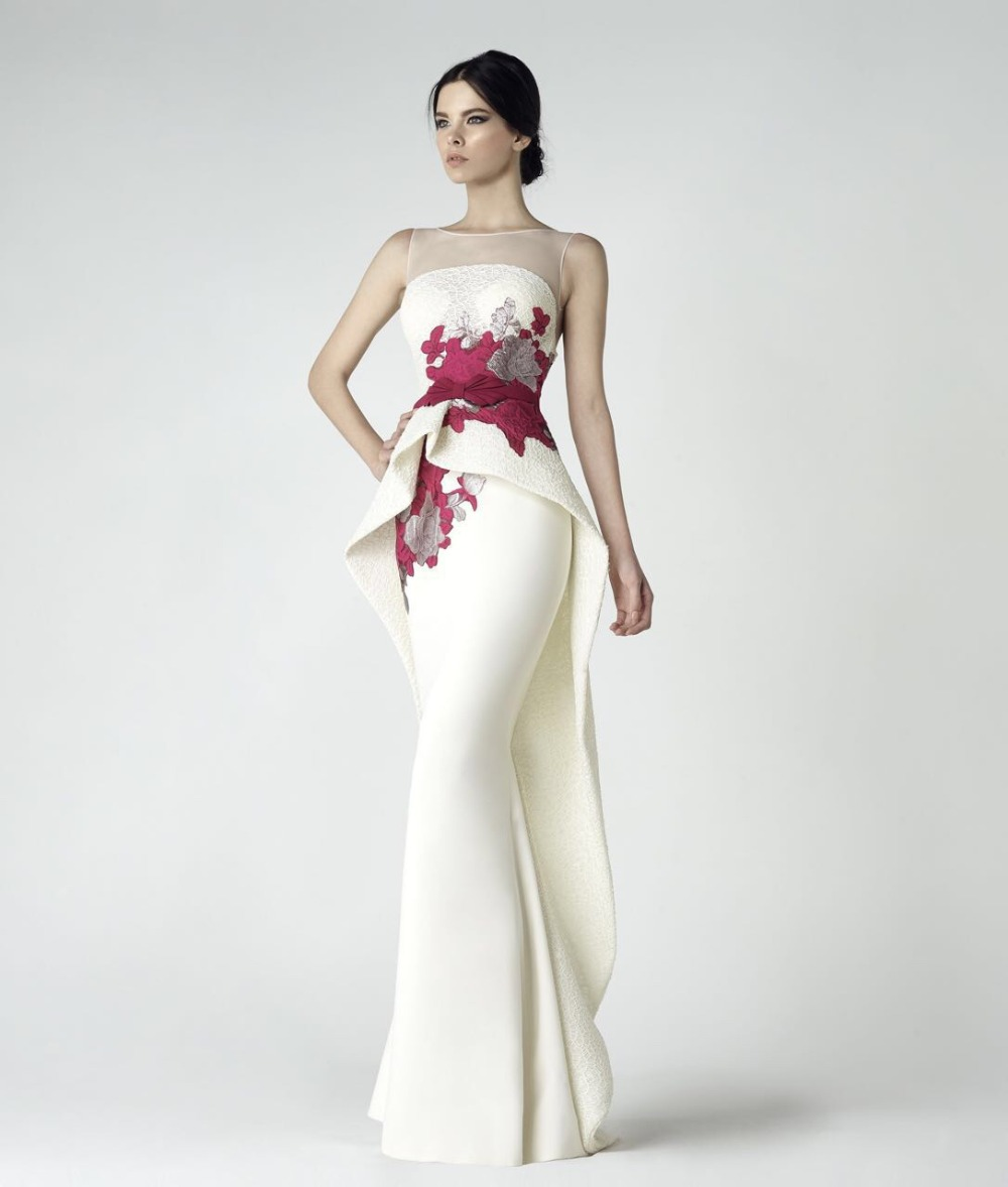 Elegant Embroidery Flowers Stain Mermaid Evening Dress 2017 Vestido De Festa Scoop Neck Sleeveless Custom Made Prom Dresses Hot