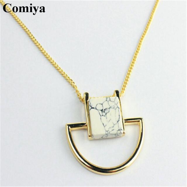Comiya золотое покрытие мраморные камни подвески ожерелья лучшие друзья bisuteria ...