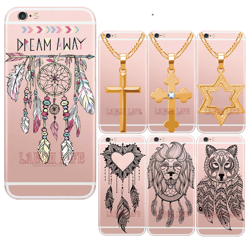 Unique Dream Catcher Phone Case for iPhoneSE 5S 6 6S 6Plus Cross Golden Necklace Soft Silicone Clear Ultra Thin TPU Back Cover(China (Mainland))