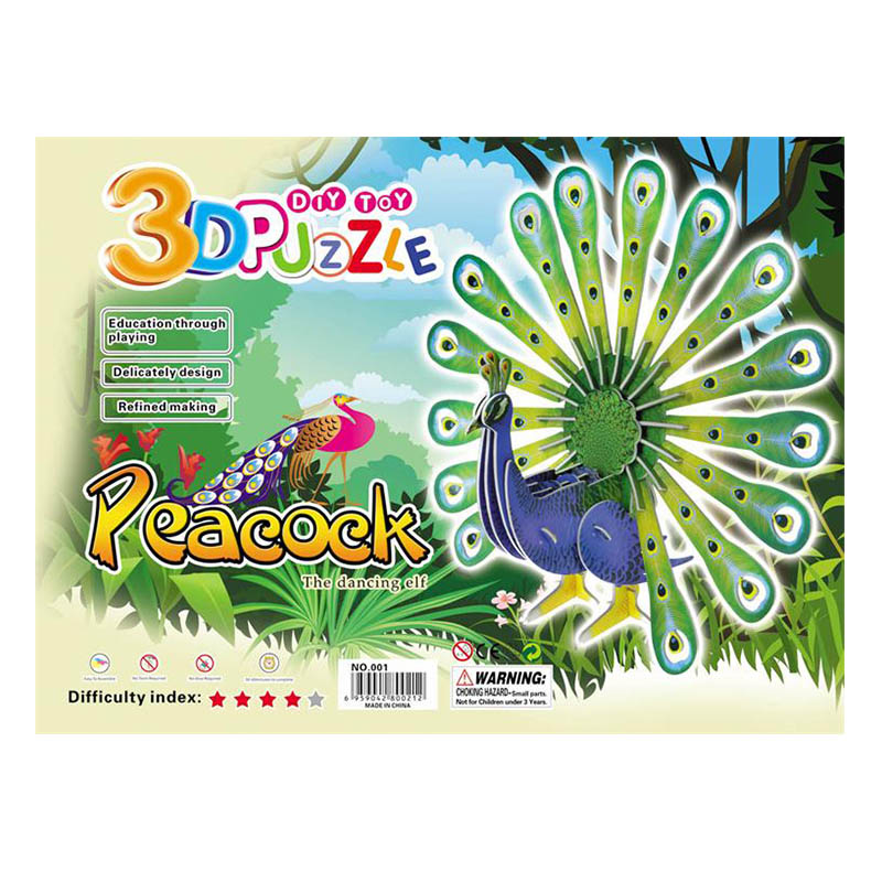 Peacock Dragon Phoenix Series DIY Jigsaw 3D Puzzle For Children Kids Educational Intelligence Development Toy(China (Mainland))