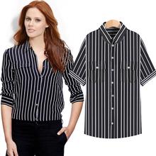 XL-7XL Slim Black White Vertical Stripe Woman Summer Shirt Girl Clothes Ladies Fashion Top Fashion Blouses Shirts Big Size