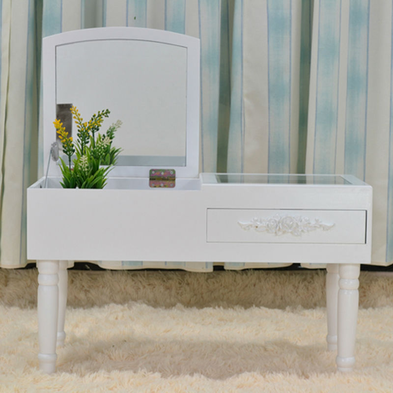 Modern Mini Dressing Table Mirrored Dresser Makeup Vanity Table For Bedroom S