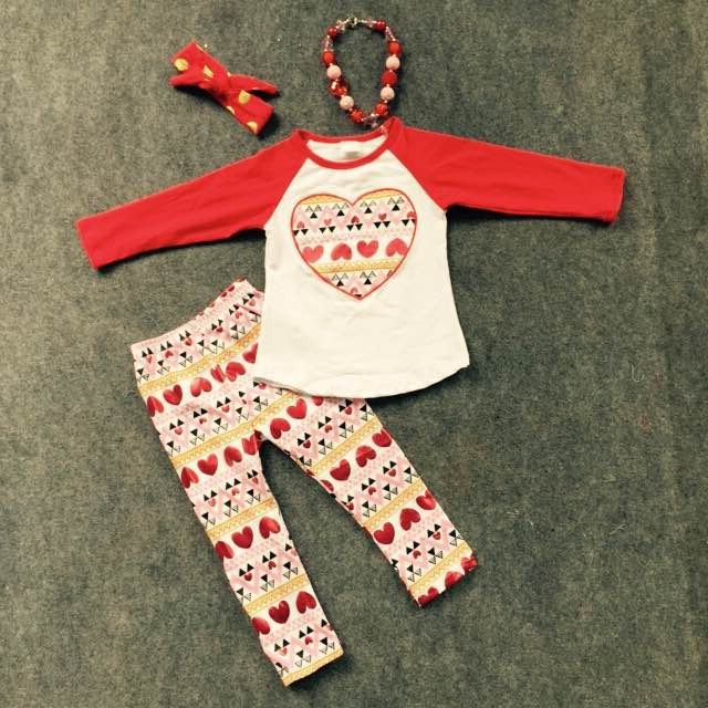 2016 Valentine's day baby girl clothes hot sell outfits heart aztec pant with matching necklace and headband set(China (Mainland))