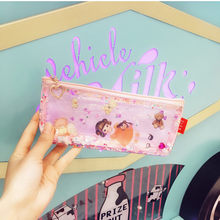 Milk bear Transparent Paillette Glitter move Stars Silica Gel PVC Plastic Water Proof Pencil Bag Pencil Case Cosmetic Bag School(China)