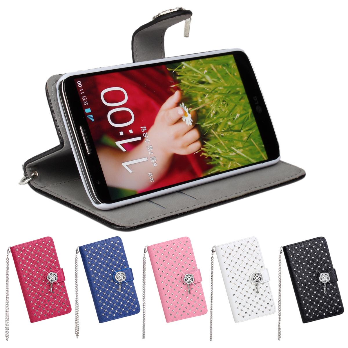 Glitter Bling Rhinestone Cases for LG G2 Flip Leather Cover for LG G2(China (Mainland))