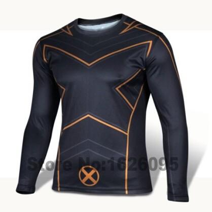 Marvel avengers superhero captain america/superman/batman long sleeve t shirt men sport gym fitness tshirt homme tights clothing(China (Mainland))