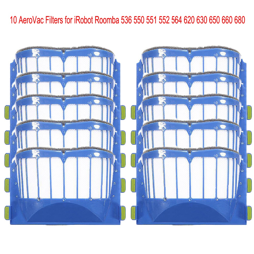 10pcs AeroVac Blue Filters for irobot roomba 536 550 551 552 564 595 Series 600 610 615 620 630 650 660 Series(China (Mainland))