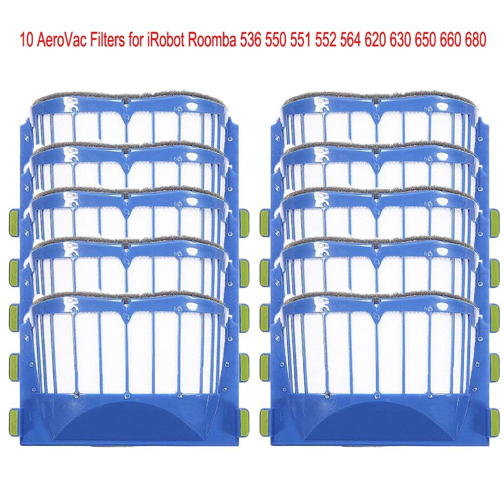 10pcs AeroVac Blue Filters for irobot roomba 536 550 551 552 564 595 Series 600 610 615 620 630 650 660 Series(China (Mainland))