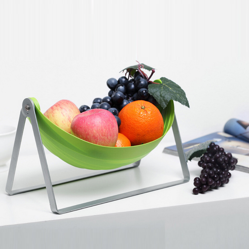 Brand New Green Foldable Fruit Bowl Dish Food Storage Cradle Table Decor Fruits Plate Desk Organizer Free Shipping Food Material(China (Mainland))