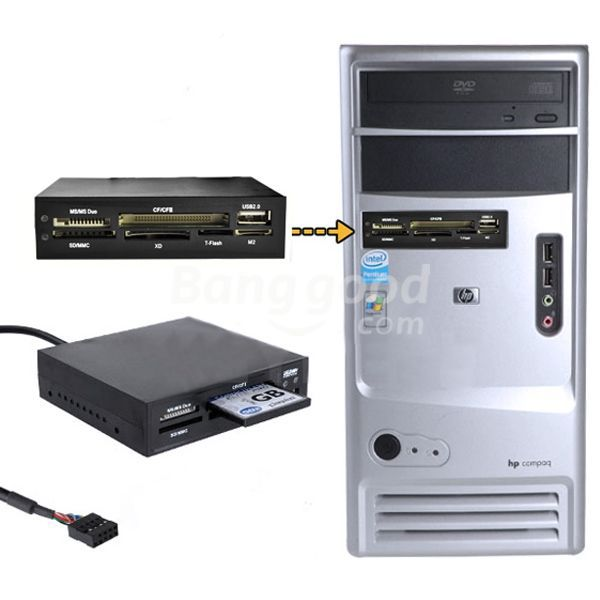 New Hot sale discount 3.5 All In 1 Internal Card Reader USB 2.0 9 Pin Flash Memory MS CF TF promotion free shipping(China (Mainland))