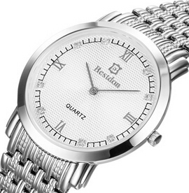 Man han edition quartz watch business and leisure travelers Ultra-thin stainless steel waterproof watch shop(China (Mainland))