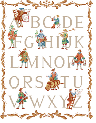 X.X.FISH Cross Stitch,A1235cartoon[rural wind alphabet]water-soluble printing,100% accurate pattern,11CT,Need to embroidery(China (Mainland))