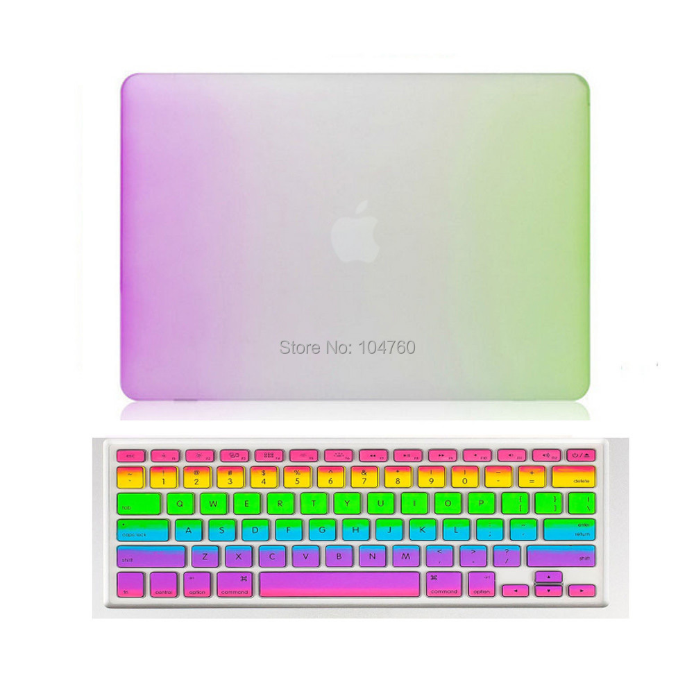For MacBook Pro 15 retina case Rainbow Style Rubberized Matte Case + Silicone Keyboard film for macbook pro retina 13 case cover(China (Mainland))