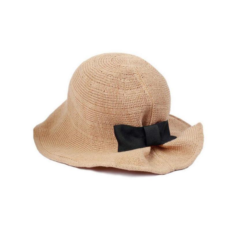 Fashion Bow Fedora Summer Beach Hats For Women Chapeu Feminino Folding Visor Outdoor Flower Hat Sun Fishing Bucket Cap Girl(China (Mainland))
