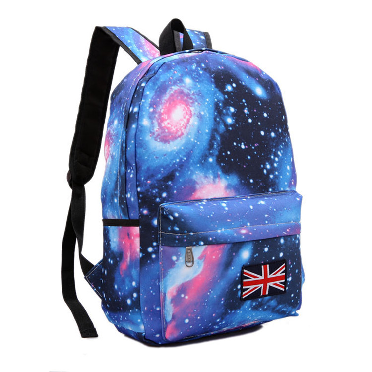 Fashion Canvas Stars Universe Space Printing Women/Men Backpack School Book Campus Student Backpack British Flag Bag(China (Mainland))