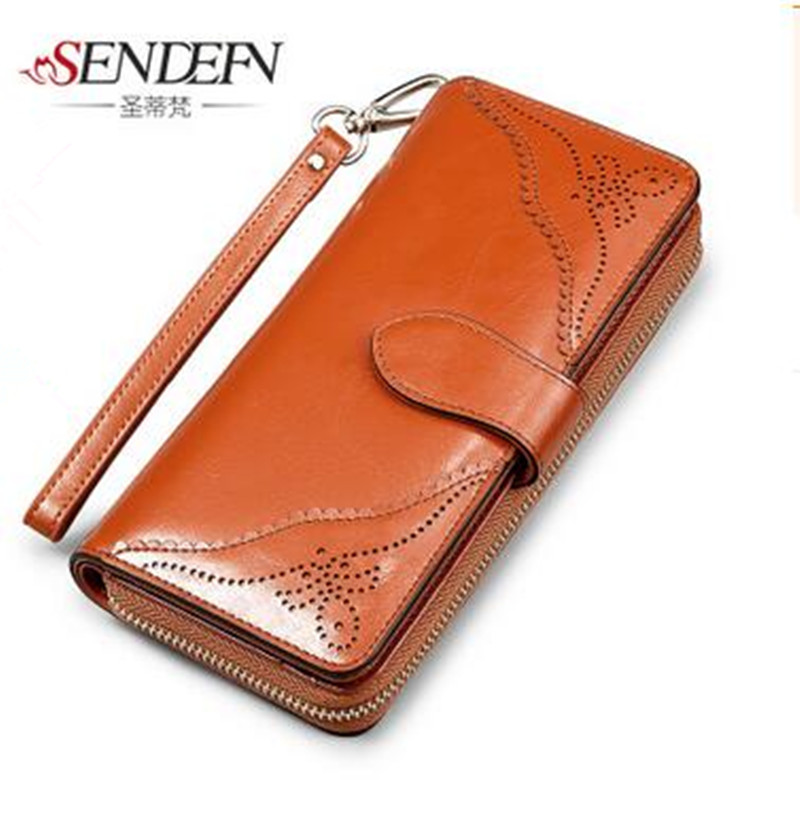 Women Genuine Leather Wallet Card Pack Purse Royal Style High Capacity Large Zipper Long Wallet Women Phone Pouch Purses <br><br>Aliexpress