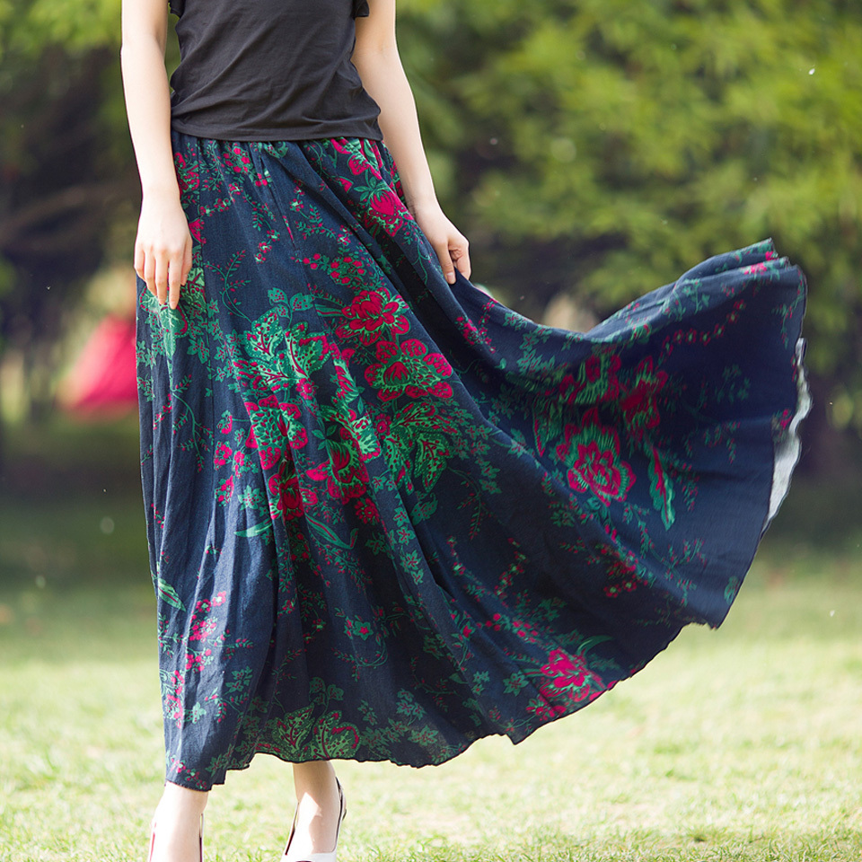 New 2015 Spring Summer Long Skirt Vintage Cotton Linen Print Women Vintage Casual Plus Size Maxi A Line Skirts LS773Одежда и ак�е��уары<br><br><br>Aliexpress