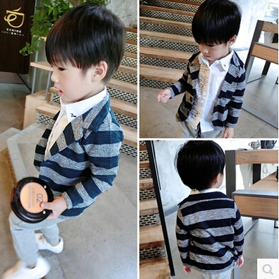 Toddler Boys Knited Sweater Baby Kids Woolen Striped Autumn 2015 Spring Clothes Pockets Open Stitch Children Clothing 5pcs/LOT<br><br>Aliexpress