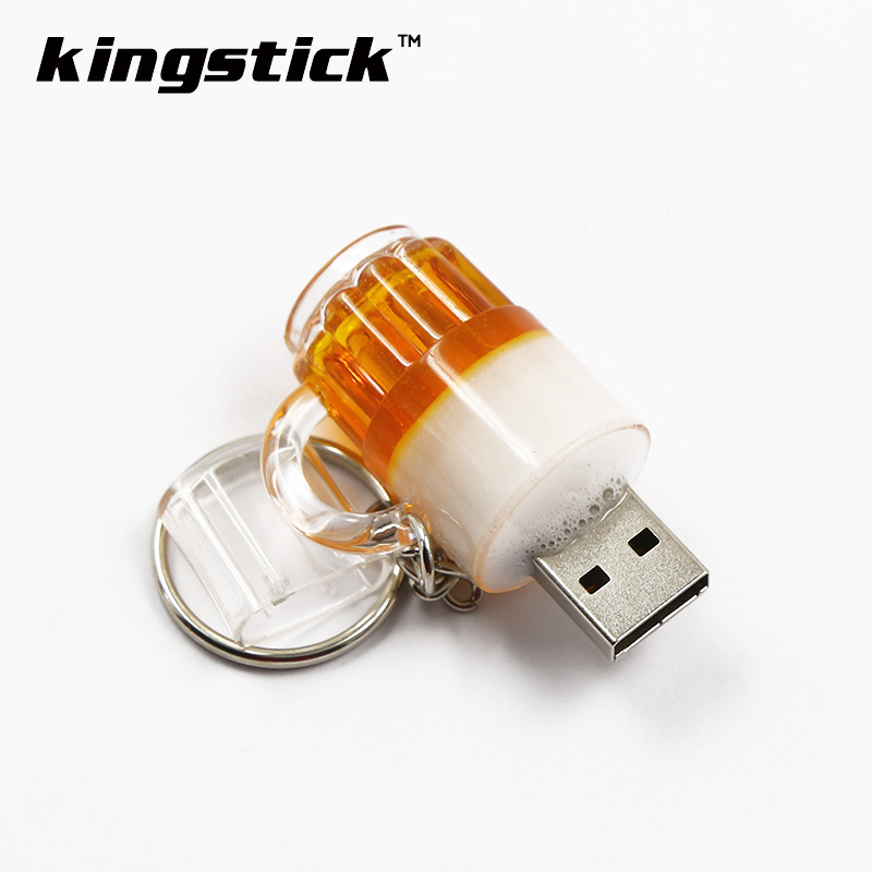 Kingstick mini usb flash drives 4gb 8gb 16gb 32GB small bulk cheap Beer Cup Bottle Pendrive 64GB USB Memory Stick Pen drive gift(China (Mainland))