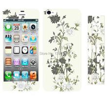Free Shipping Plastic Phone Sticker for iPhone 5 5S Elegant Flowers Printed Plastic Phone Sticker(China (Mainland))