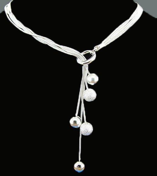 Free Shipping Fashion Jewelry  Silver-Filled Snake Chain Ball Necklace AN0426