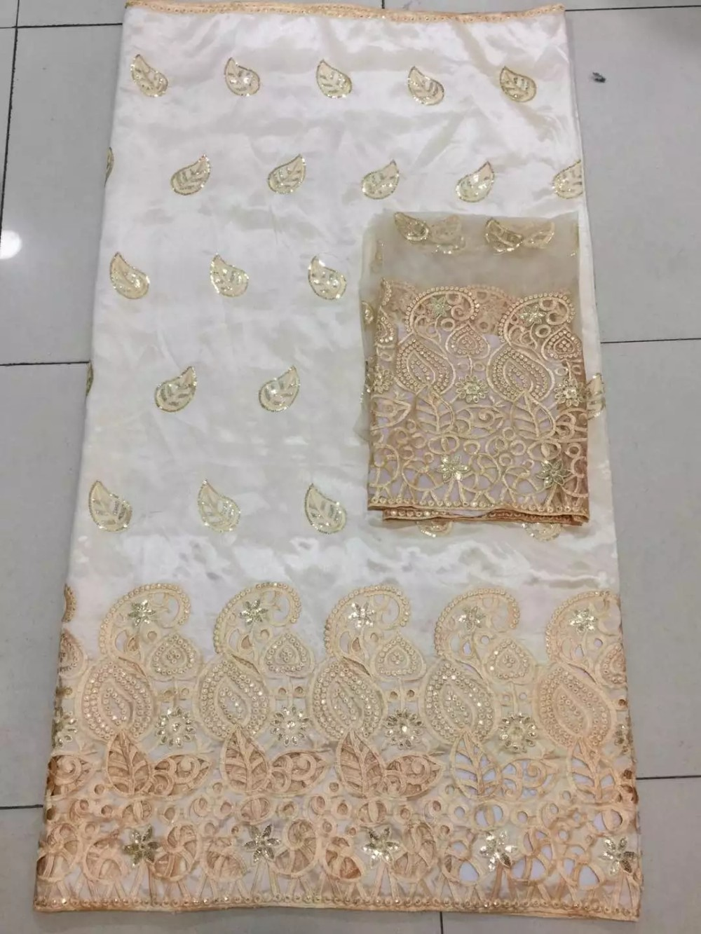 2016 Top quality distinctive design embroidered George lace fabric with stones for women dresses 5yards/lot
