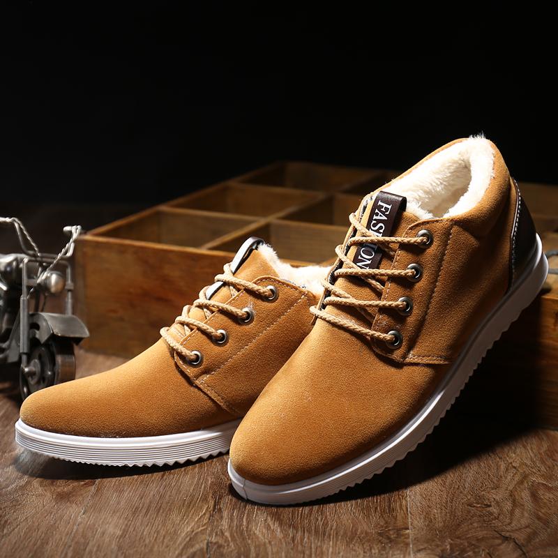 Гаджет  New Fashion Men Winter Warm Cotton Shoes Pure Color Flock Upper Non-Slip Casual  Fur Boots  SIZE 39-44 None Обувь