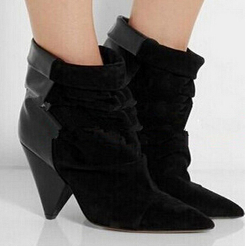 Patchwork Burring Women Boots Autumn Suede Ankle Spike Heels Boots Genuine Leather Boots High Heels Gladiator Shoes Woman<br><br>Aliexpress