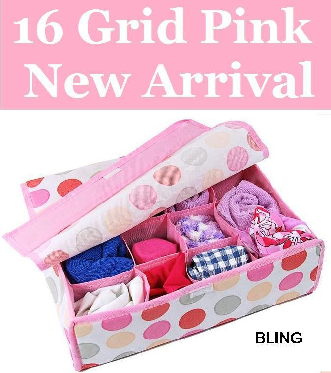 New Hot Sale Free Shipping 8pcs/lot Pink Folding 16 Grid Storage Box With Cover For Bra,Underwear,Socks 32*28*11CM(China (Mainland))