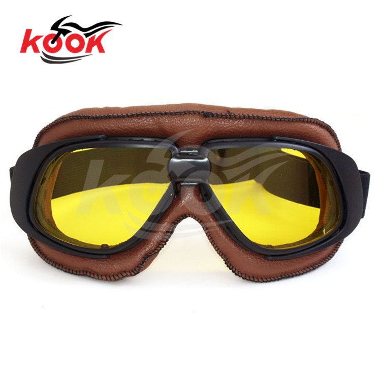 yellow lens anti UV cool retro motorcycle Cycling Eyewear for harley Accessories universal ATV parts motocross goggle Leather(China (Mainland))