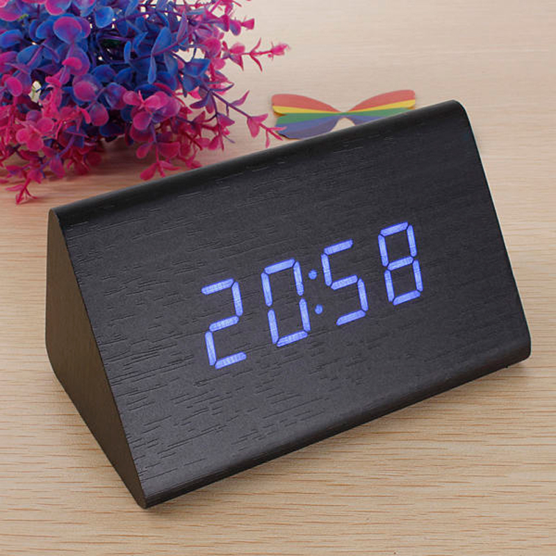 decorative table clocks Control Sensing Alarm Temp dual Display Electronic LED Clock Vintage Wooden Digital Alarm Clock(China (Mainland))