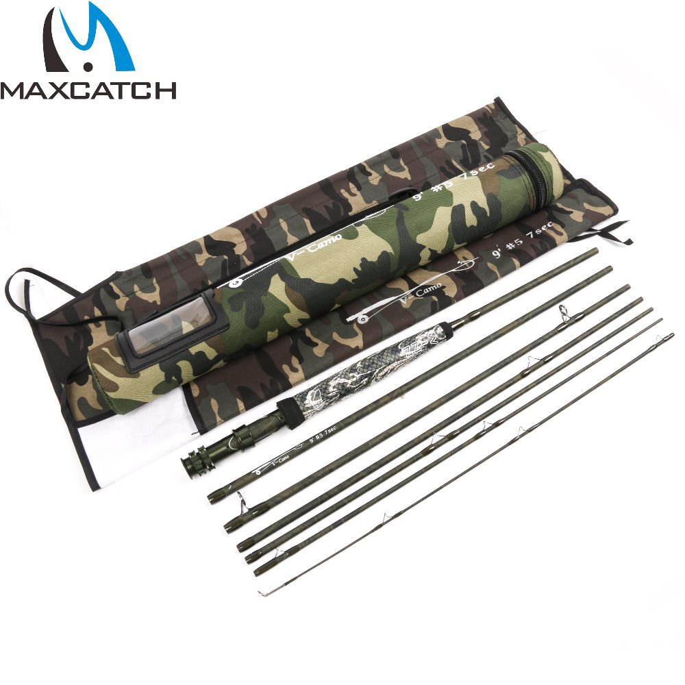 Maxcatch new design travelling fly fishing rod v camo 9057 for Camo fishing pole
