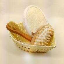 New 4pcs Soft Exfoliating Back Spa Scrubber Massage Comb + Shower Sponge + Box + Wooden Massager Set HB88(China (Mainland))