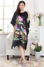 Fashion  Chinese Women's traditional  silk robe Gown sleepwear plus size Black(China (Mainland))