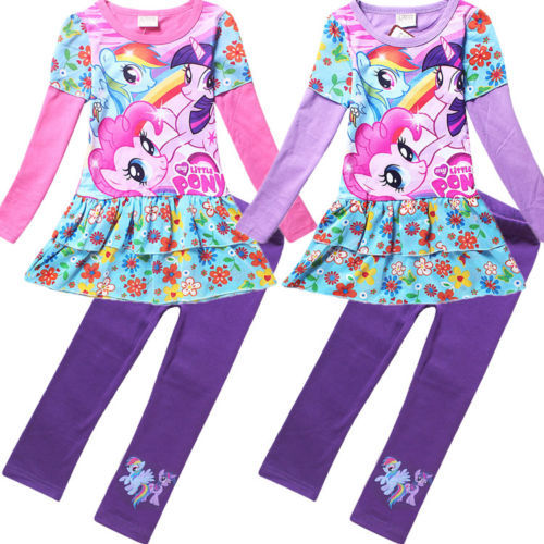 New Baby Girls Spring Clothing Sets Flower Print Suits 3-8Y Kids Girl Clothes Dresses + Legging Pants Set S813P(China (Mainland))