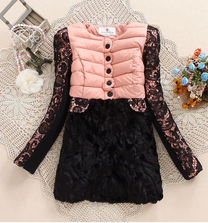 2014 women fashion lady beautiful girl slim lace coat patchwork faux medium-long wadded jacket cotton-padded winter - Nana001 store