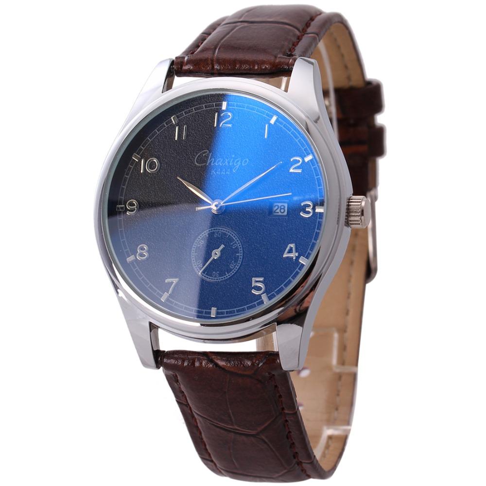 Chaxigo Mens Blue Glass Watch Simple Design China Cheap Wrist watch montre homme Leather belt Waterproof Men Clock Quartz Watch(China (Mainland))