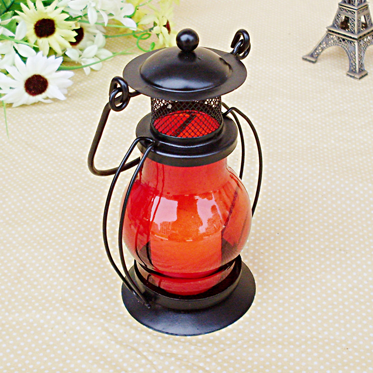 lantern candle holder metal Red clear glass for Patio Indoors/Outdoors Events Parties Weddings(China (Mainland))