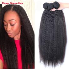 """7A Brazilian Virgin Hair Kinky Straight Coarse Yaki 3Pcs Brazilian Hair Weave Bundles 10""""-30"""" Italian Yaki Human Hair Weave(China (Mainland))"""