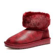 2018 Buty Damskie Zimowe Nowy Styl Zagęszczony Kobiet Śniegu Buty Dno Płaskie Ciepłe Wodoodporne Kobiety Snow Boots(China)