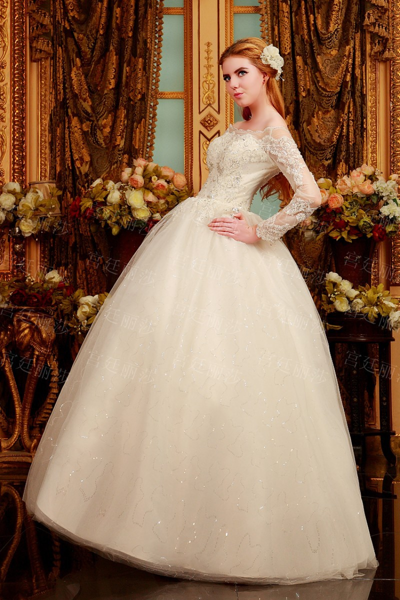 Aliexpress Buy 2015 Customize Lace Boat Neck Wedding Dress Long Sleeve Wedding Gown Lace