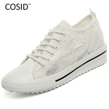 Women Shoes 2016 Spring Summer Women Casual Shoes Fashion Canvas Shoes Breathable Solid Wedges Lace Female Footwear BSN-622