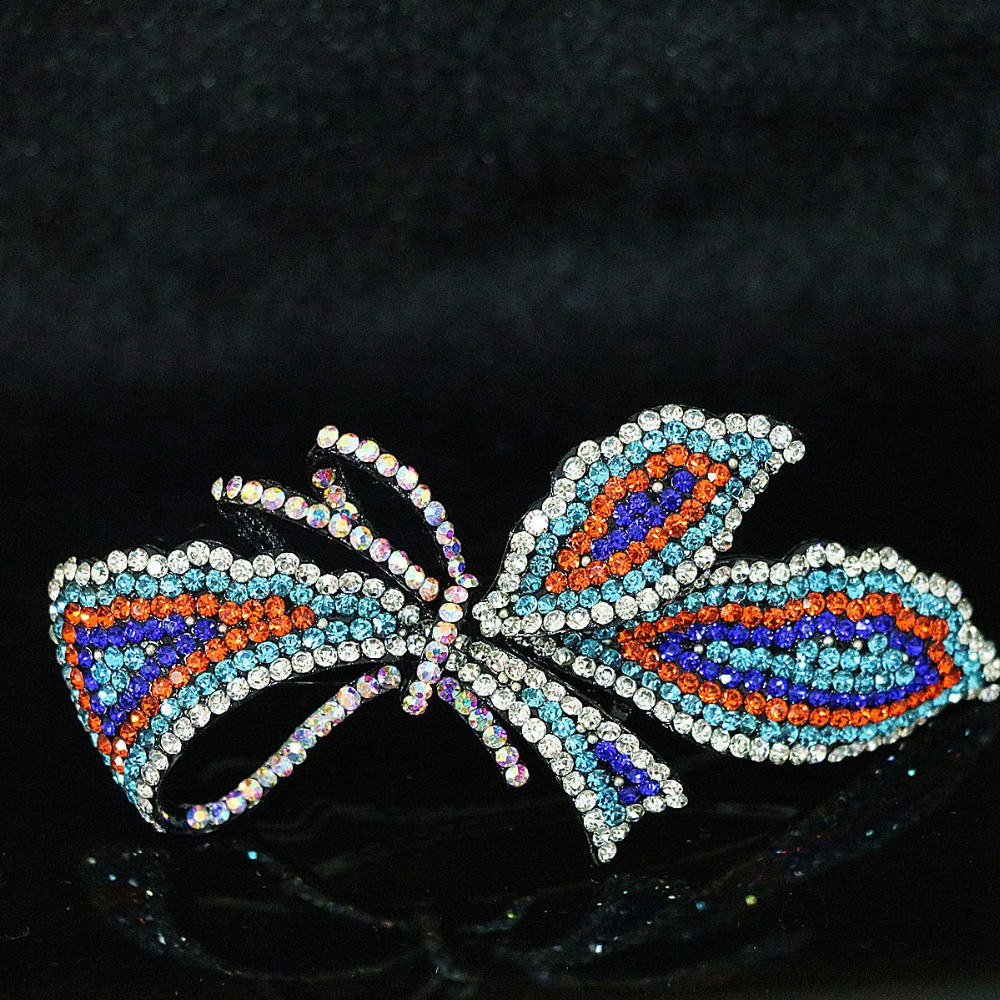 Multicolor butterfly design crystal hair clips fashion women charms hairpins jewelry accessory B1253(China (Mainland))
