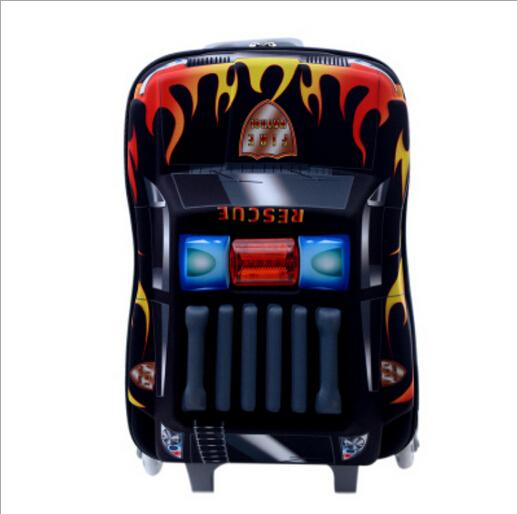 3D children school bags police car-styling backpack child bolsas mochila infantil trolley kid bag suitcase EVA &88120