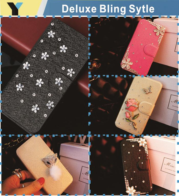 Various Flower bling case for NOKIA lumia 710 Crystal Rhinestone Flip Wallet Case Cover(China (Mainland))
