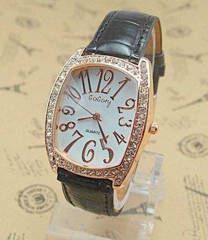 Free Shipping wholesale 4pcs/lot rectangle Analog quartz Lady's Crystal wrist watches leather 4 color Sample $15(mix ok)4-2502