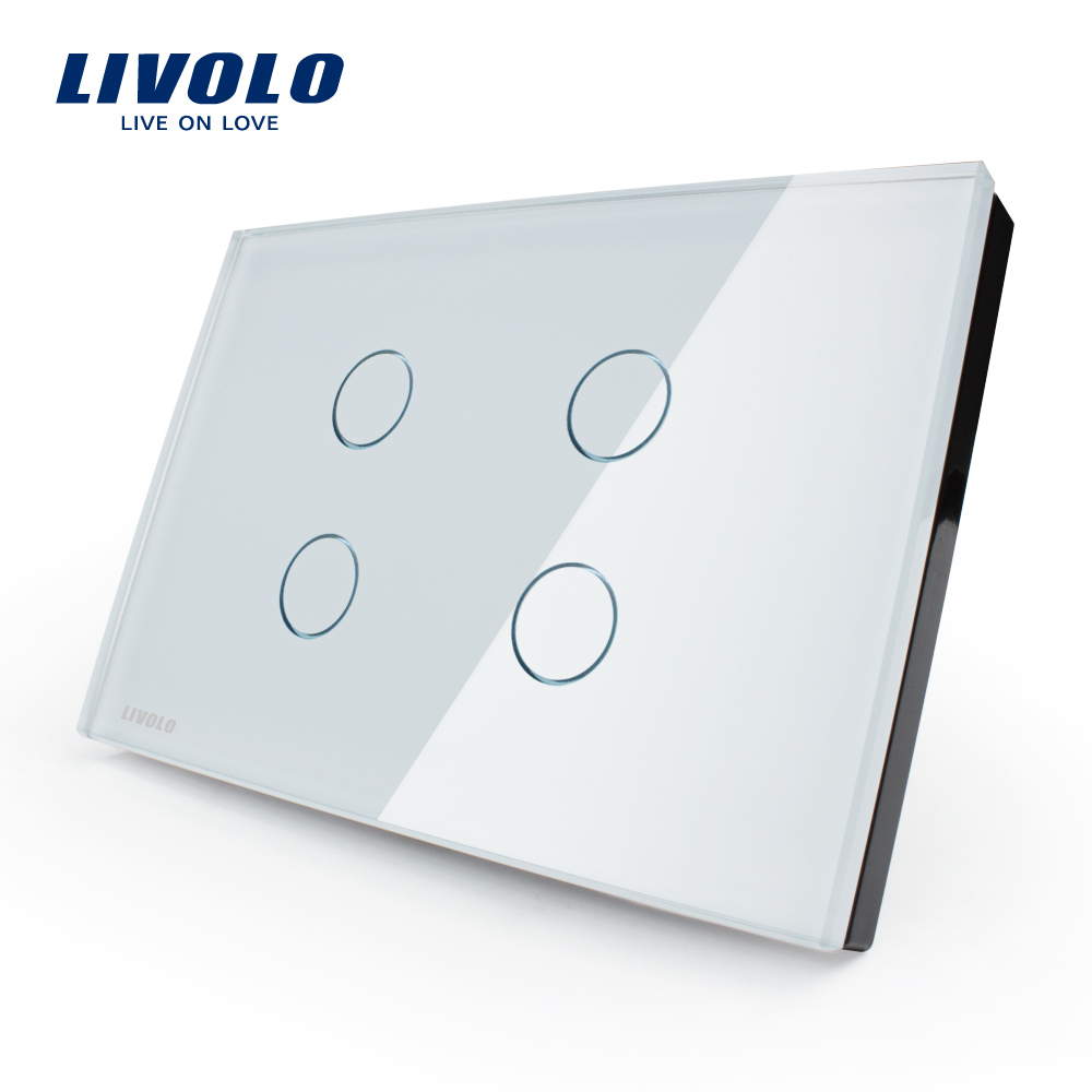 Гаджет  Free shipping, Livolo Touch Screen Switch,  US standard, VL-C304-81,Crystal Glass Panel, Wall Light Touch Switch+ LED Indicator None Свет и освещение